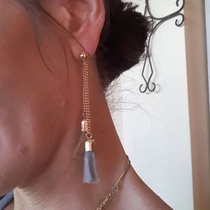 Super Cool  Greyblue & Brown Tassel Earrings